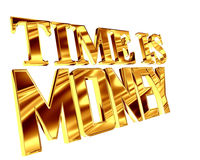 Gold text time is money on a white background. 3d illustration. Gold text time is money on a white background Royalty Free Stock Image