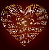 Gold text about what love is Royalty Free Stock Images