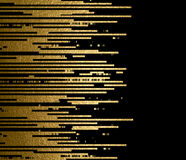 Gold texture lines decoration on the black background. Royalty Free Stock Image