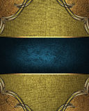 Gold Texture With Ornament And Blue Nameplate. Template For Design. Stock Photo