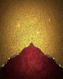 Gold Texture With Red Edge. Element For Design. Template For Design. Copy Space For Ad Brochure Or Announcement Invitation, Abstra Royalty Free Stock Photo