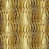 Gold textured 3d seamless pattern. Vector golden patterned vinta. Ge background. Ornamental surface texture. Line art tracery swirl lines, stripes, curves Stock Images