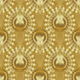 Gold textured 3d seamless pattern. Vector golden patterned vinta. Ge background. Ornamental surface texture. Line art tracery swirl lines,  curves, leaves Stock Photos
