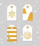 Gold textured festive gift tags Stock Photography