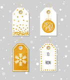 Gold textured festive gift tags Stock Photos