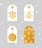 Gold textured festive gift tags Royalty Free Stock Photo