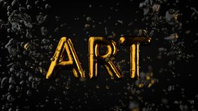 Gold Textured Text Art With Liquid Drops, Black Background.  Vector Illustration
