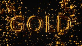 Gold Textured Text Gold With Liquid Drops, Black Background.  stock illustration