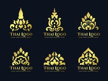 Gold thai art traditional lotus flower logo vector set design Stock Photography