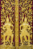 Gold Thai Carve Style On Door In Temple Royalty Free Stock Images