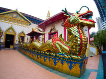 Gold Thai dragon Chinese dragon at Wat Chaiyamangalaram Penang Malaysia Stock Images