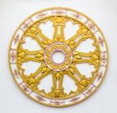 Gold Thammachak. Symbol of Buddhism in Thai Style Royalty Free Stock Photo