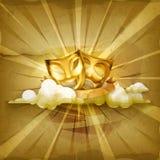 Gold theater masks royalty free illustration