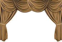 Gold Theater Stage Draped With Curtains. Old fashioned, elegant theater stage with gold velvet curtains Stock Photos
