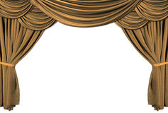 Gold Theater Stage Draped With Curtains. Old fashioned, elegant theater stage with gold velvet curtains Royalty Free Stock Images