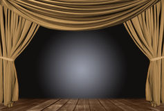 Gold Theater Stage Draped With Curtains. Old fashioned, elegant theater stage with gold velvet curtains Royalty Free Stock Photos