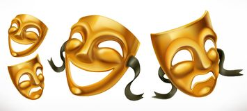 Gold theatrical masks. Comedy and tragedy vector icon. Gold theatrical masks. Comedy and tragedy 3d vector icon Stock Photo