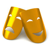 Gold theatrical masks,3d. Gold theatrical masks - comedy and tragedy, 3d image Stock Images