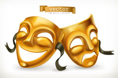 Gold theatrical masks. 3d vector icon. Gold theatrical masks. Comedy and tragedy, 3d vector icon Stock Photos