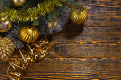 Gold themed Christmas decorations Royalty Free Stock Photo