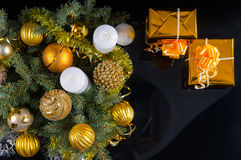 Gold themed Christmas still life Stock Images