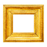 Gold thick wooden frame Royalty Free Stock Images