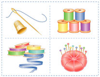 Gold Thimble, Needle, Sewing Accessories. Pastel collection of spools of ribbon & thread, satin pincushion with gold stick pins, gold thimble, needle and thread Stock Photo