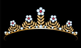 Gold tiara with diamonds Royalty Free Stock Photography