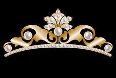 Gold tiara with pearls. Vintage gold tiara with pearls on black background royalty free illustration