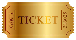 Gold ticket Stock Image