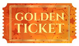 Gold ticket, golden token tear-off ticket, coupon with star magical background Royalty Free Stock Images