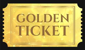 Gold ticket, golden token tear-off ticket, coupon with star magical background Stock Photography