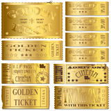 Gold Tickets. Gold cinema and sale tickets Royalty Free Stock Photos