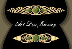 Gold tie pin in art deco style, antiquarian clasp with green gems smaragd, luxurious hair clip Royalty Free Stock Photos