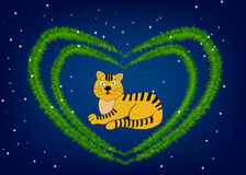 Gold tiger. Character of 2010 year is a gold tiger stock illustration