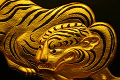 Gold tiger artwork Royalty Free Stock Photo