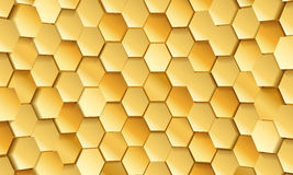 Gold tile of honeycomb shape plates background Stock Images