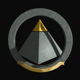 Gold-tipped pyramid. A symbol composed by a gold-tipped pyramid and a stone circle with a golden ribbon where you can put customized inscriptions Royalty Free Stock Photo