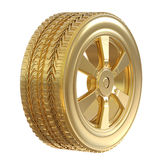 Gold tire with gold wheel Royalty Free Stock Photo