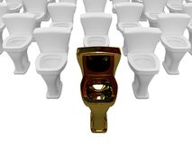 Gold toilet bowl Royalty Free Stock Photos