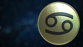 Gold token with Cancer Zodiac sign. 3D rendering. Gold token with Zodiac sign. 3D stock illustration