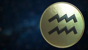 Gold token with Aquarius Zodiac sign. 3D rendering. Gold token with Zodiac sign. 3D royalty free illustration