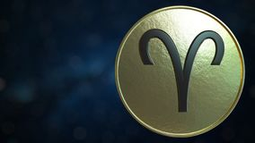 Gold token with Aries Zodiac sign. 3D rendering. Gold token with Zodiac sign. 3D stock illustration