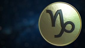 Gold token with Capricorn Zodiac sign. 3D rendering. Gold token with Zodiac sign. 3D royalty free illustration