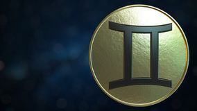 Gold token with Gemini Zodiac sign. 3D rendering. Gold token with Zodiac sign. 3D stock illustration