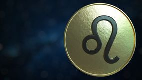 Gold token with Leo Zodiac sign. 3D rendering. Gold token with Zodiac sign. 3D vector illustration