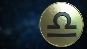 Gold token with Libra Zodiac sign. 3D rendering. Gold token with Zodiac sign. 3D vector illustration
