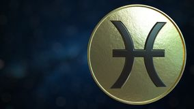 Gold token with Pisces Zodiac sign. 3D rendering. Gold token with Zodiac sign. 3D stock illustration