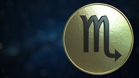 Gold token with Scorpio Zodiac sign. 3D rendering. Gold token with Zodiac sign. 3D stock illustration