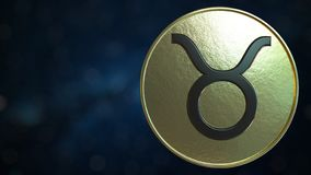 Gold token with Taurus Zodiac sign. 3D rendering. Gold token with Zodiac sign. 3D royalty free illustration